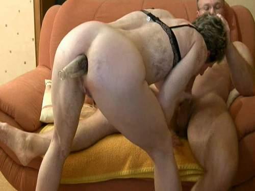 Wet and messy shemale enjoys night masturbation with cumshot