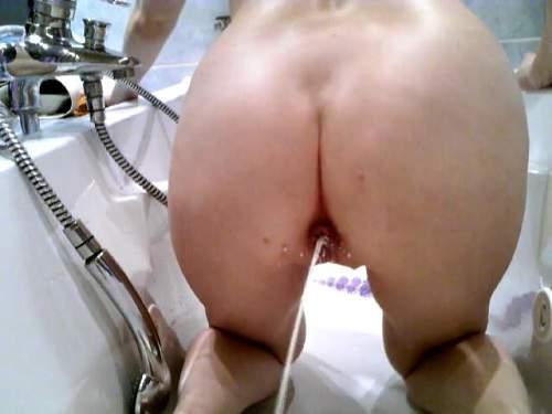 Amateur milk enema addict colon cliansing 5