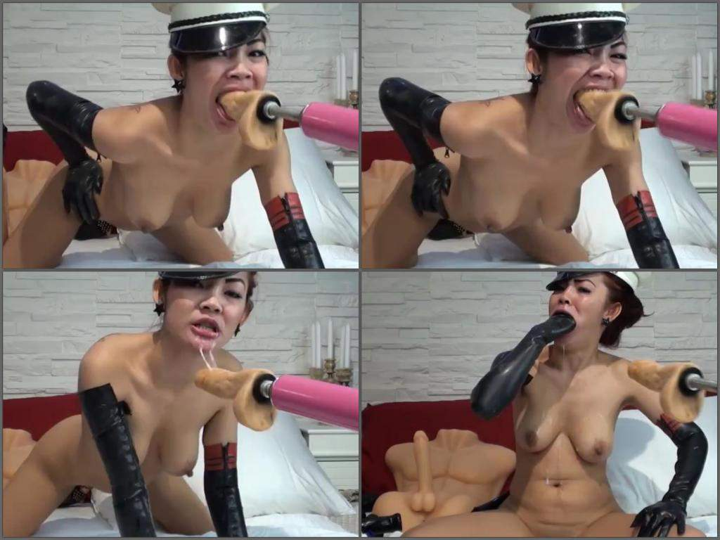 asian whore solo throat driller fuckmachine | rare amateur fetish video