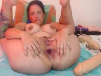 deep dildo fuck horny busty girl,busty colombian tattooed milf,dildo deep fuck into asshole,gape asshole stretching,anus gape training