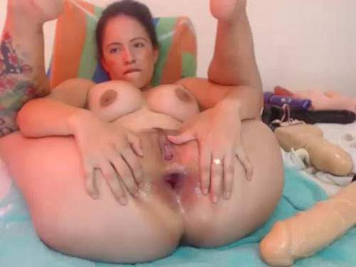 Inflatable Toy And Other Dildos Deeply Fuck Smooth Cunt -1805
