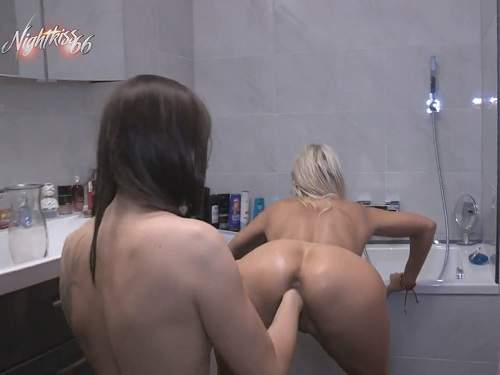 Lesbian fisting and peeing domination in the bathroom