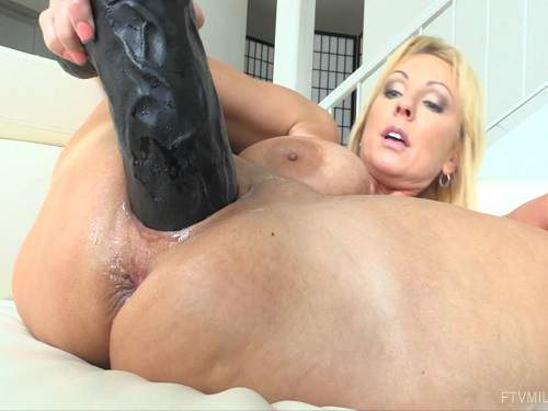 Busty mom monster dildo penetration in wet cunt solo