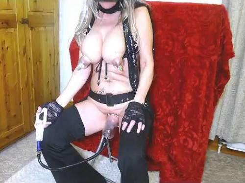 pumping tits,pump pussy,mature with huge tits,cream enema,pussy enema,busty mature gets enema,hot dildo fuck
