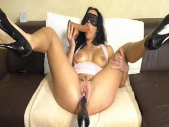 fucking machine porn,masked mature gets huge dildo in throat,deepthroat fucked milf,masked milf,homemade dildo porn,pump clit