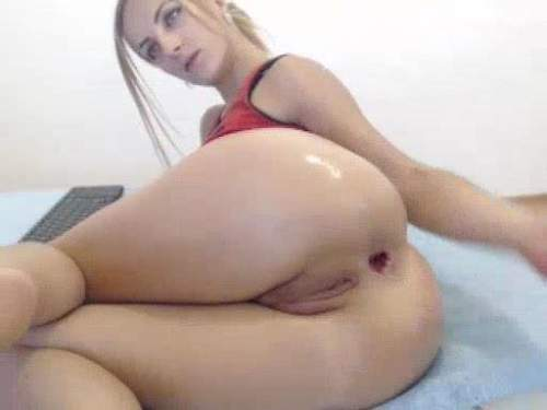Booty blonde herself double penetration to big gape anal