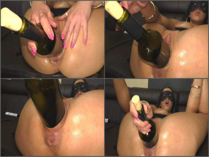 Masked wife fisted penetrated with bottle