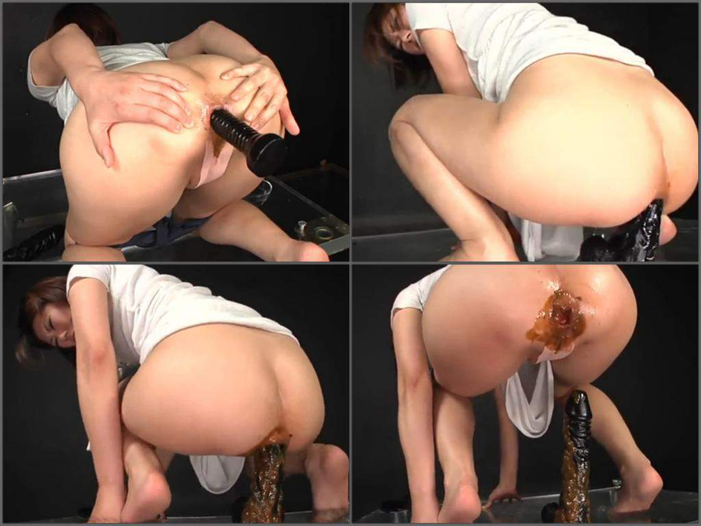Solo anal dildo riding