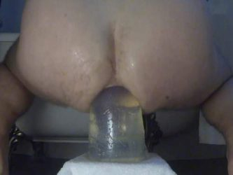 colossal transparent dildo,huge dildo riding,giant toy riding,epic toy insertion,male dildo fuck,shocking dildo fuck,epic toy fuck solo slave male
