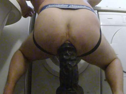 colossal dildo,huge dildo riding,male dildo riding,shocking black toy fuck,hairy ass