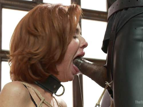 Veronica Avluv with bondage tits gagging on dick