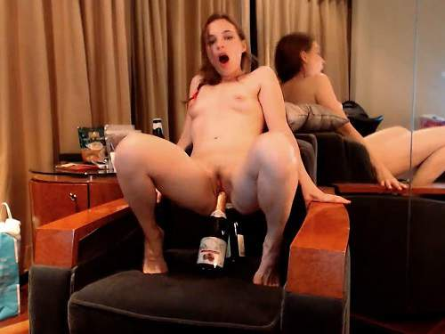 Little Miss bottle rides,big bottle in ass,Little Miss double bottle rides,champagne bottle penetration,huge bottle anal,hot girl bottle fuck deeply