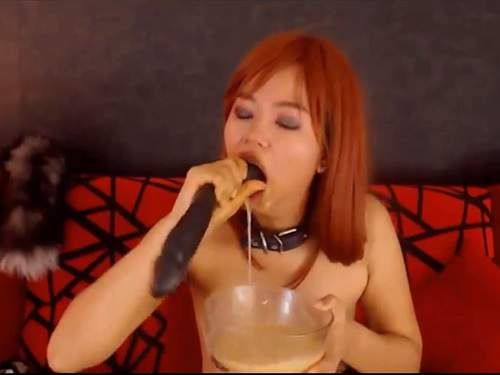 Jureka Del Mar aka NastyChinkyToy solo deepthroat fuck and vomit