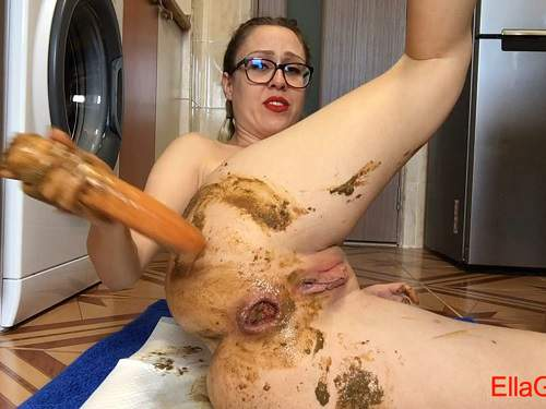Ella Gilbert scat dildo penetration solo in the kitchen