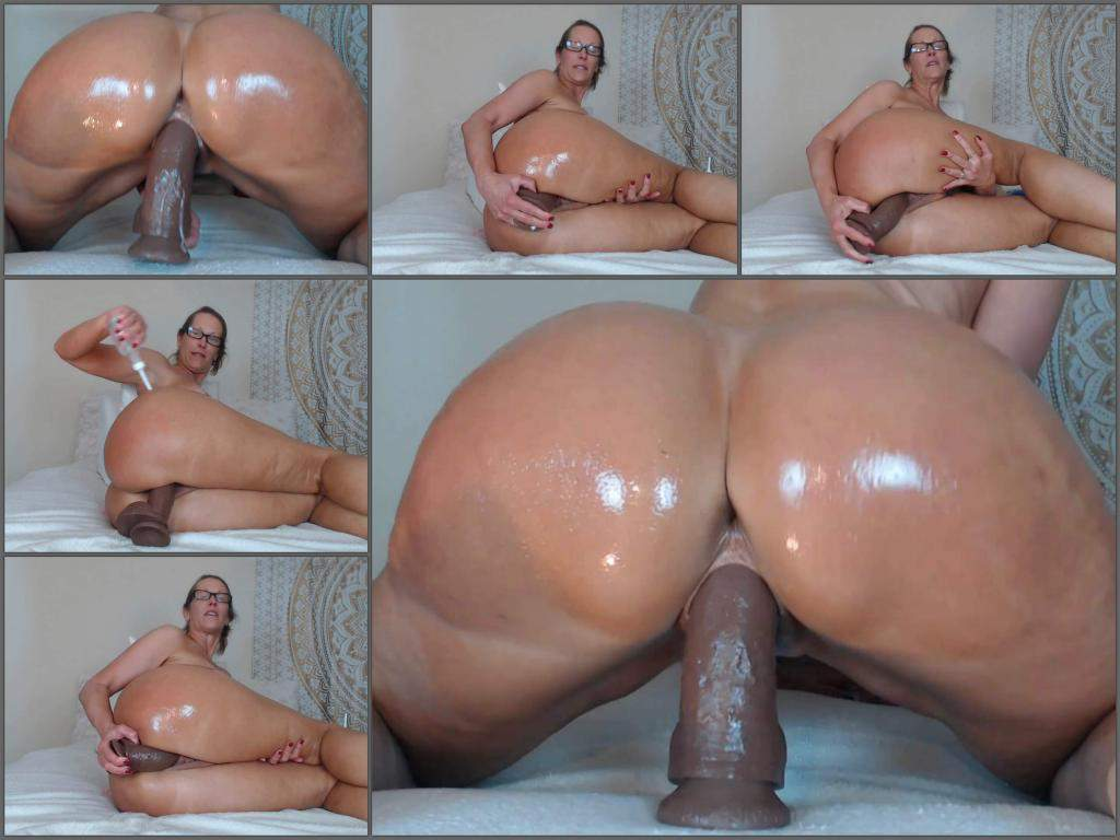 Oily nude blonde asshole dildo-9135