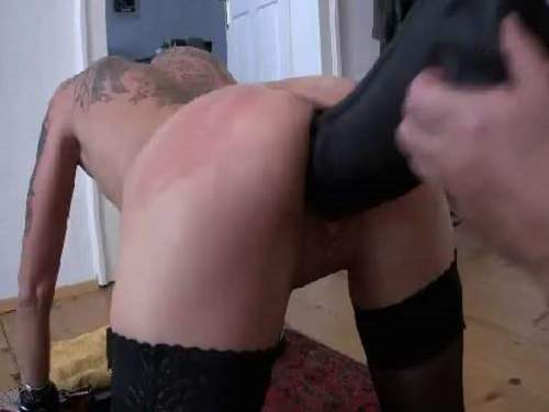 Tattooed milf gets BBC dildo in wet pussy in doggy style pose