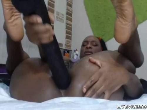 Dirty Ebony Penetration Huge Black Dildo In Anal Pucker -7100