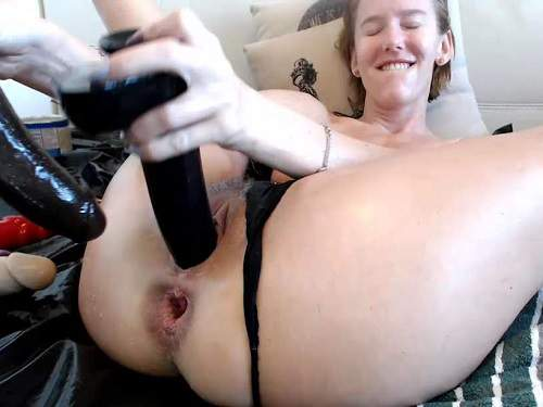Wife Penetration Double Huge Dildos In Her Stretched Anal -6861
