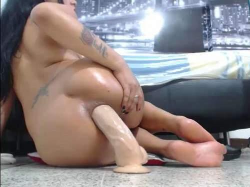 Dildo penetration up close ass