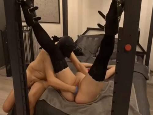Masked slave fisted his bondage mistress homemade