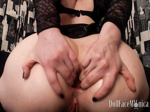DollFaceMonica BBC 16 inches anal and pussy herself