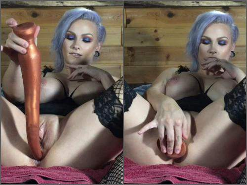 LilySkye insertion very long dildo fully in prolapse anus and gets fisted after