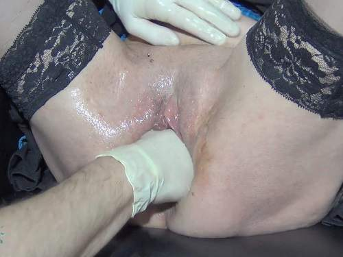 Dirty brunette gets fisted and urethral sounding homemade
