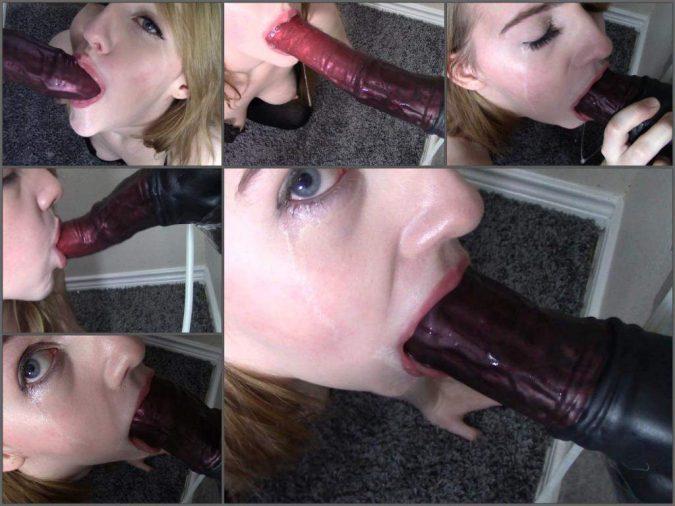 girl deepthroat fuck,deepthroat fuck,gagging on dildo,horse dildo porn,horse dildo in throat