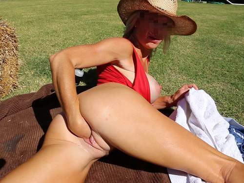 Depraved busty milf outdoor vaginal fisting herself hardcore