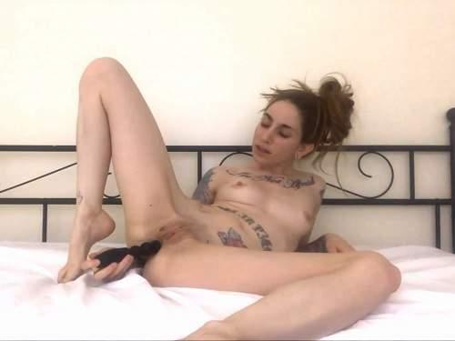 long dildo anal,dildo penetration,dildo in ass,butplug porn,tattooed girl,skinny girl porn