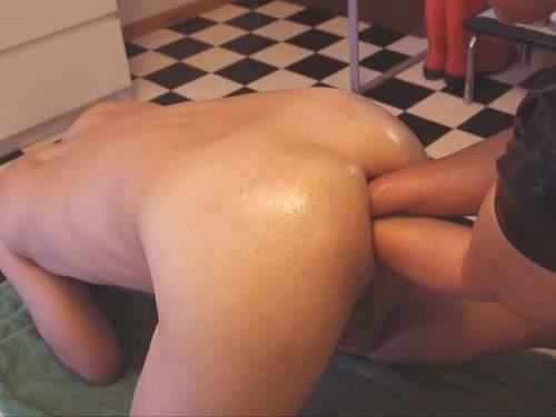 Extreme amateur femdom porn – double fisting, bottle and dildo penetration
