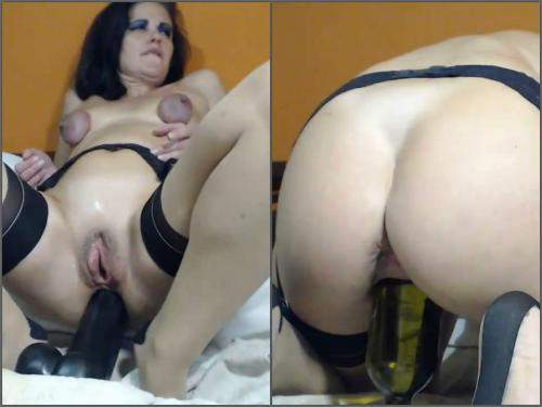 Queenvivian vaginal pump, fisting and huge bottles riding