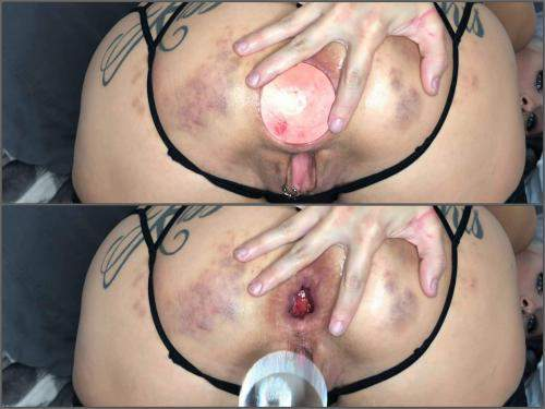 LilySkye huge glass anal plug and balls in gaping hole