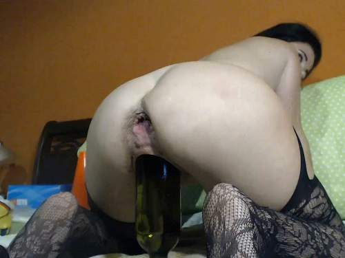 Hairy MILF with saggy tits Kinkyvivian wine bottle riding and auto gaping anal show too