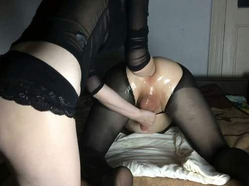 Amateur femdom wife Mary Style fisting domination to husband