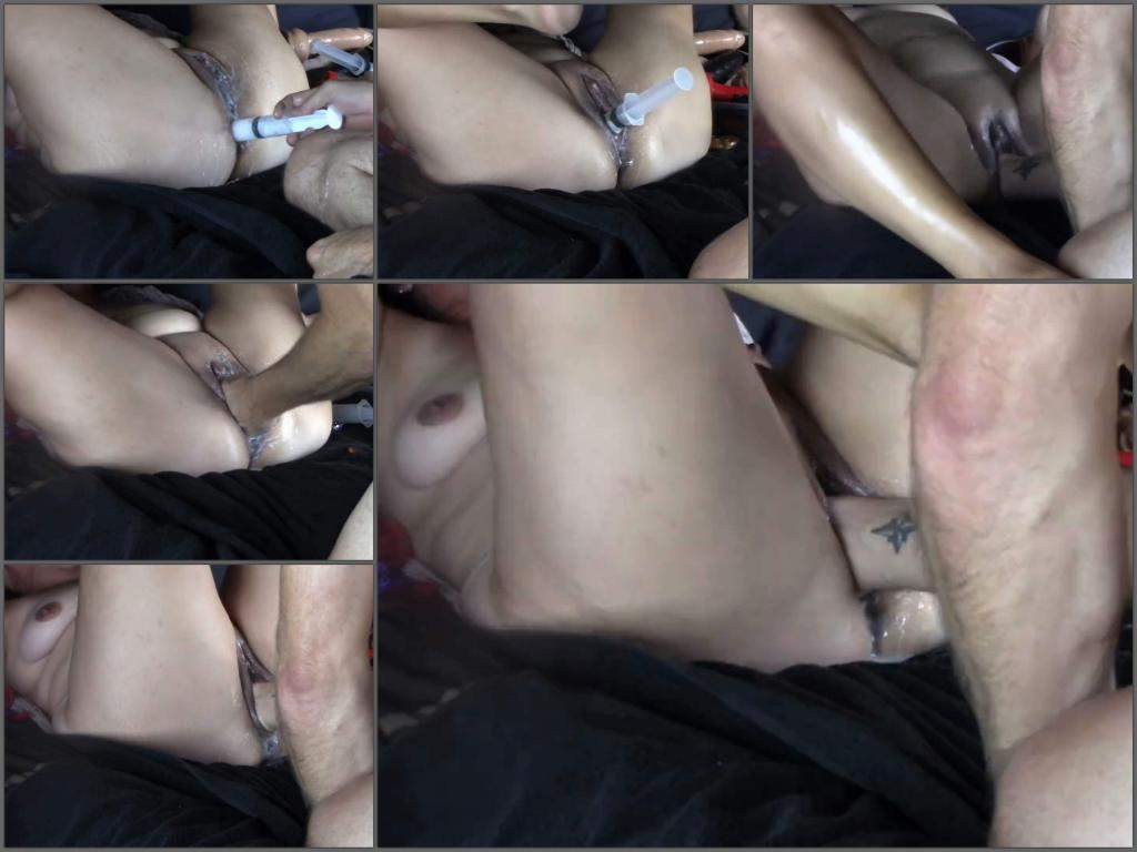 Injection lubricant in pussy and ass before awesome fisting ...