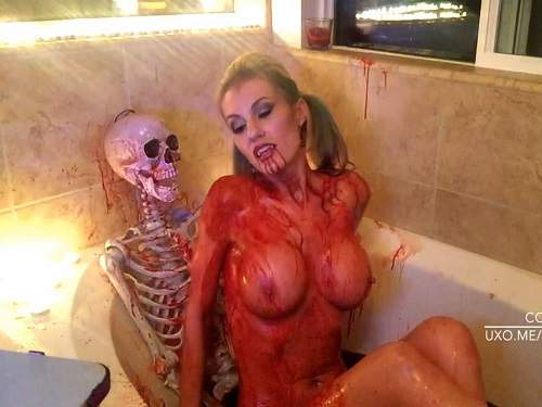 Big tit milf likes to expose her massive melons during halloween mega boobs cartoons
