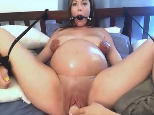 Anal toying | Cute bondage preggo girl with saggy tits gets ...